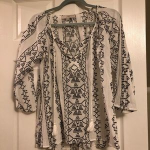 White and black stitched tunic